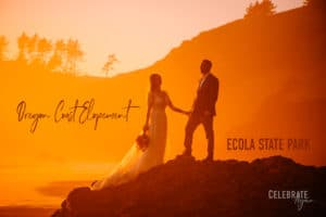 """""""Ecola State Park wedding Oregon Coast Elopement"""" view of couple standing on a rock with the Oregon coast shoreline in the background and the light is turned orange from the sun setting"""