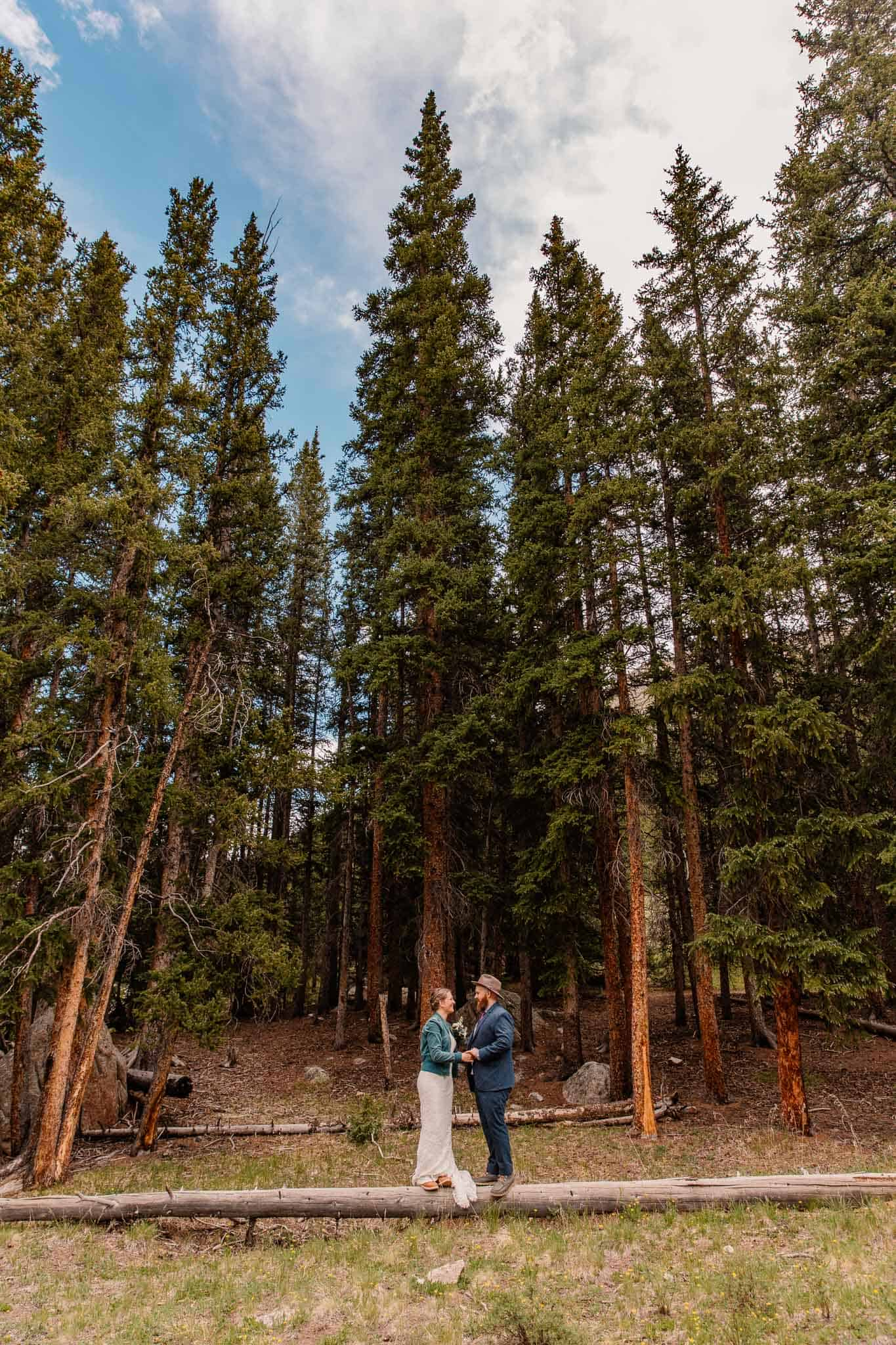 couple in the woods during their oregon elopement