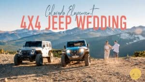 """""""colorado elopement 4x4 jeep wedding"""" couple dancing on the top of a mountain at their 4x4 wedding in a jeep wrangler"""
