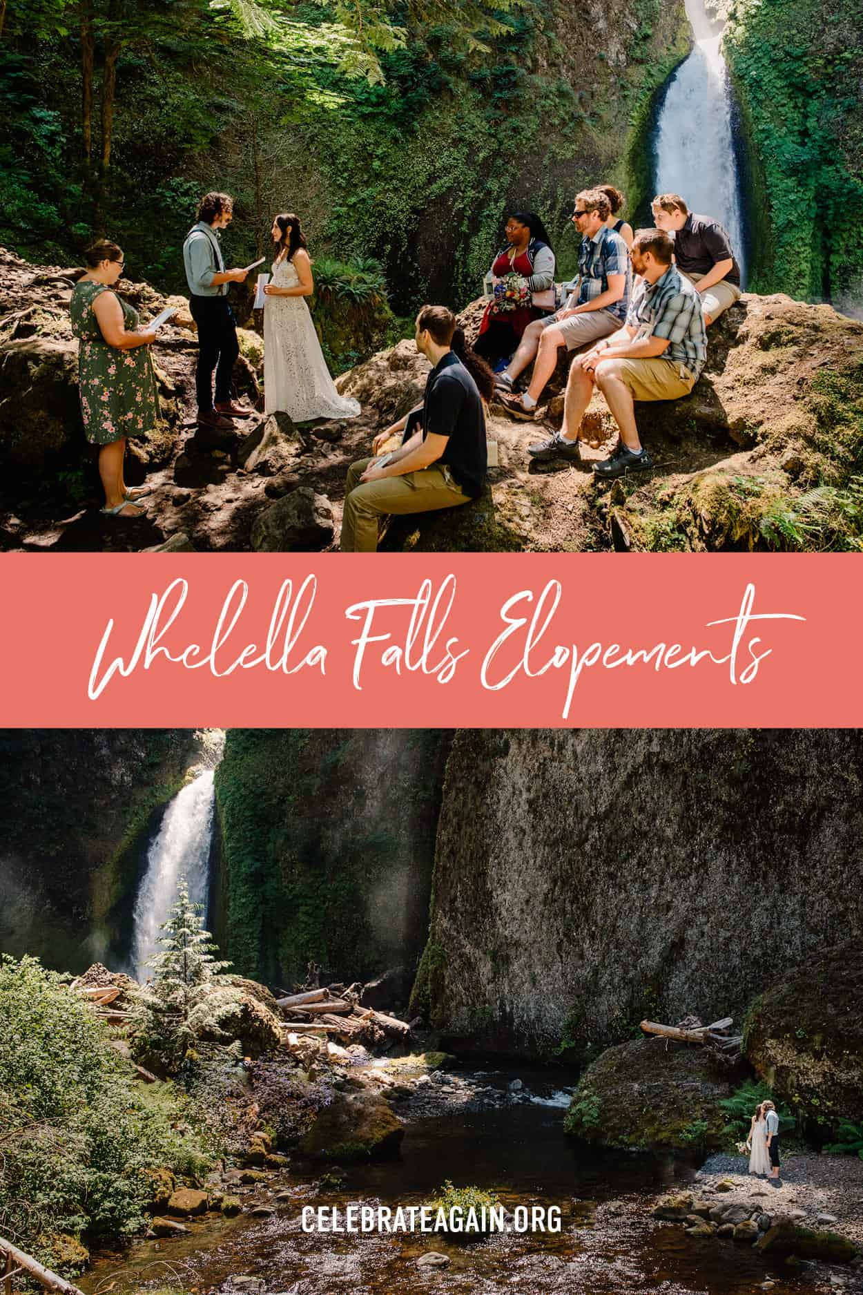 """""""wahclella falls elopement"""" written on red bar in the middle top photo Wahclella Falls wedding venue spot with guest sit-in non rock and bride and groom holding hands, bottom photo bride and groom kissing as some sunlight frames them among the dark rocks of wahclella falls"""