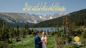 """""""Brainard Lake Wedding in Indian Peaks Wilderness"""" couple dancing with mountains and alpine lake behind them"""